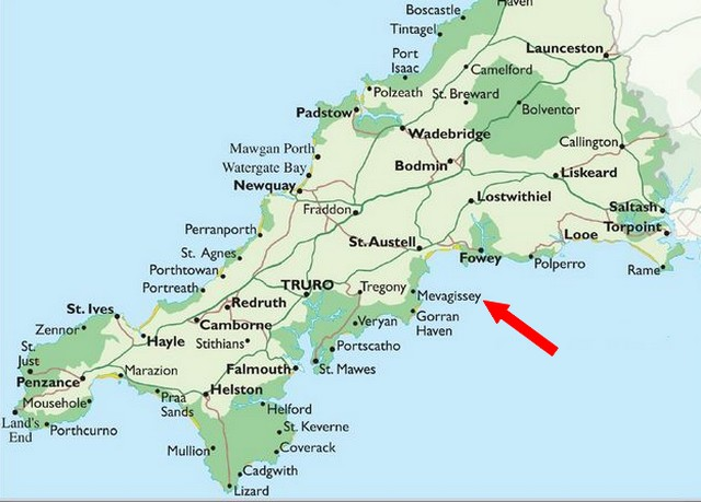 Map of Mevagissey Cornwall Holiday Cottages UK